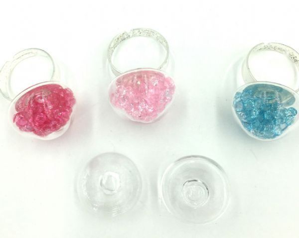 2 x 20mm glass dome for holding beads, crystal or glitter - ring or earring